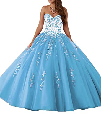 4448f632a70 DKBridal Women s Sweetheart Embroidery Quinceanera Dresses Appliques Sweet  16 Ball Gown Blue 2