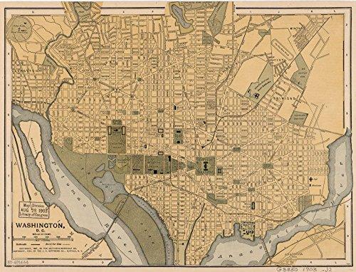 Vintage 1897 Map of Washington, D.C. - E XXc 4332 U.S. Copyright Office - Covers central Washington. -