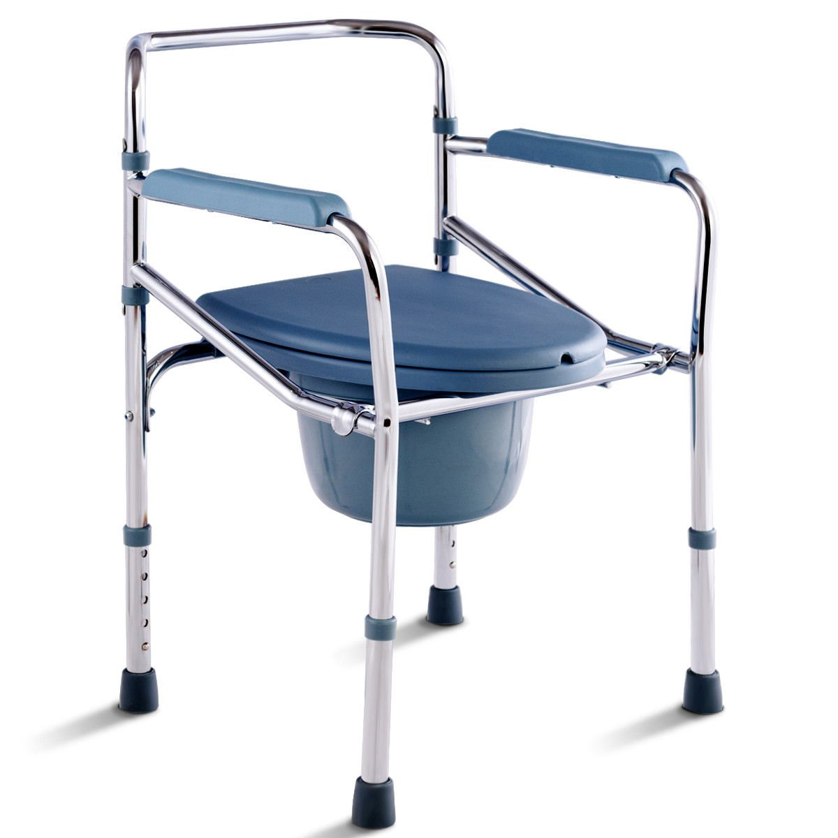 5 Level Height Adjustable Foldable Design Bedside Commode Seat Toilet Potty Chair With Bucket Splash Guard Versatile Multifunctional Portable Elderly Disabled Handicapped People Hospital Medical Chair by Auténtico (Image #1)