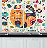 Ambesonne Paisley Decor Kitchen Curtains, Little Smiling Chubby Cheek Cat with Various Oriental Leaf Flower Decor Art, Window Drapes 2 Panels Set for Kitchen Cafe, 55 W X 39 L Inches, Multicolor