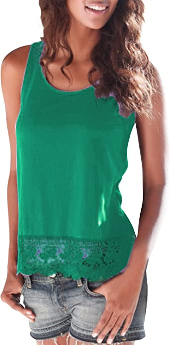 FIYOTE Women Cami Tank Top Lace Strappy Casual Loose Blouse Shirts