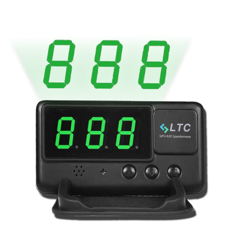 LeaningTech Original Digital Universal Car HUD GPS Speedometer Overspeed Alarm Windshield Project for All Vehicle by LEANINGTECH