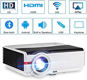 5000 Lumen LED Wifi Bluetooth Projector WXGA HD 1080P Airplay Supported LCD Android Home Cinema Video Projector Outdoor Wireless HDMI USB VGA AV Audio for iPhone iPad Laptop PC DVD TV PS4 Movie Game