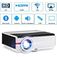 Proyector de películas LED Bluetooth WiFi Android 6.0 HD HDMI 5000 lúmenes Cine en casa Aire Libre Inalámbrico Bluetooth Airplay 1080P USB VGA Salida de Audio AV para iPhone iPad Mac TV DVD Xbox PS4