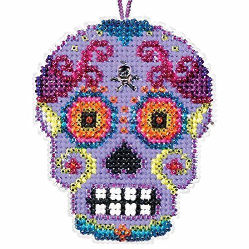 Morado Beaded Cross Stitch Halloween Kit 2016 Mill Hill Calavera Charmed Ornaments MH161621]()