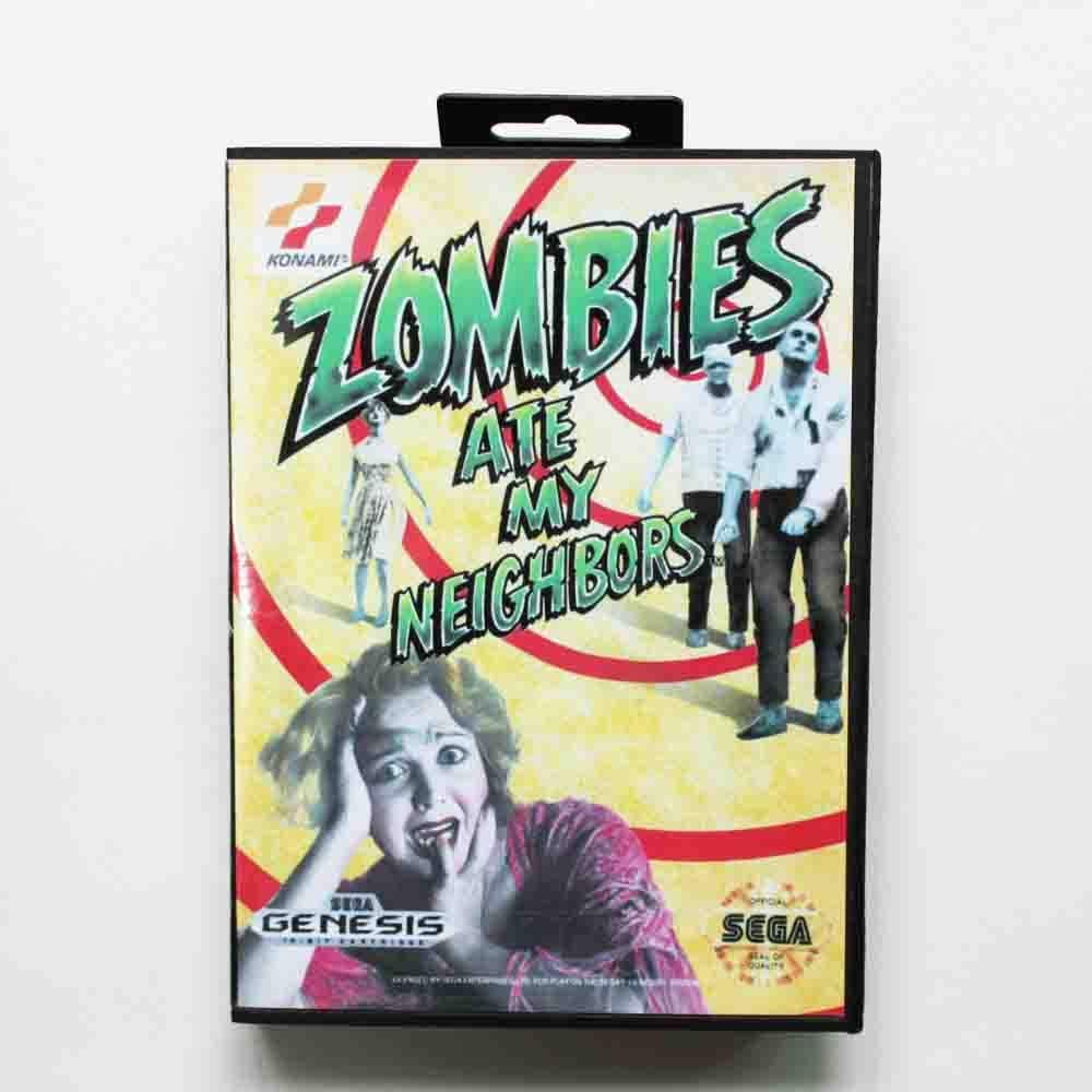 ROMGame Zombie Ate My Neighbors Game Cartridge 16 Bit Md Game Card With Retail Box For Sega Mega Drive For Genesis