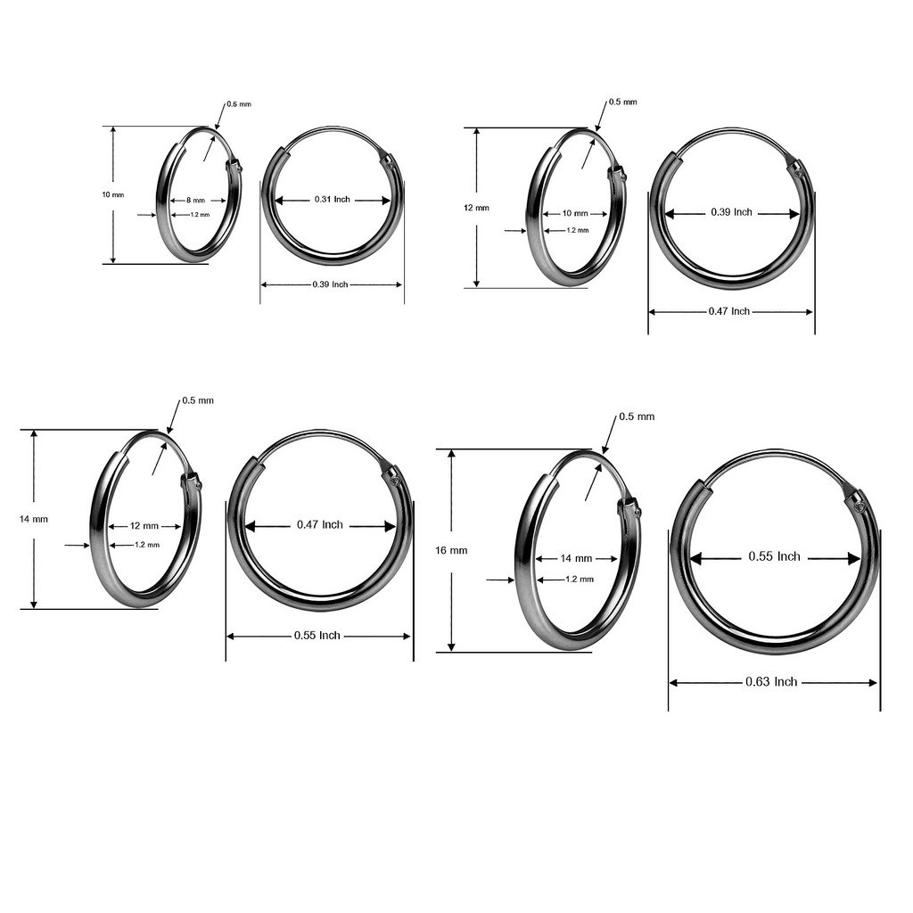 Set of Four Sterling Silver Small Endless 1.2mm x 10mm, 12mm, 14mm & 16mm Lightweight Thin Round Unisex Hoop Earrings Black Flashed Rhodium Finish by Silverline Jewelry (Image #4)
