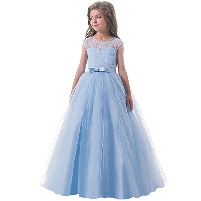 Moonker Girls Princess DressChild Girl Kids Bowknot Backless Formal Birthday Zip Net Yarn Party
