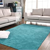 """USTIDE Modern Style Pure Color Rugs for Living Room/Bedroom,19.6""""X31.5"""",Blue"""