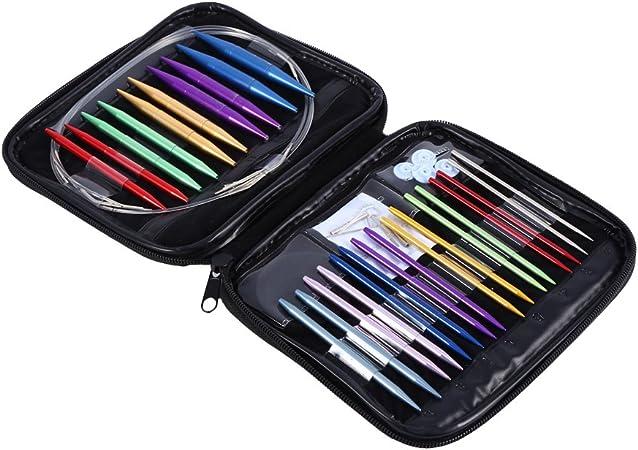 intercambiables de 2,75 mm a 10 mm fabricadas en aluminio Estuche de 13 agujas de tejer circulares de distintos tama/ños