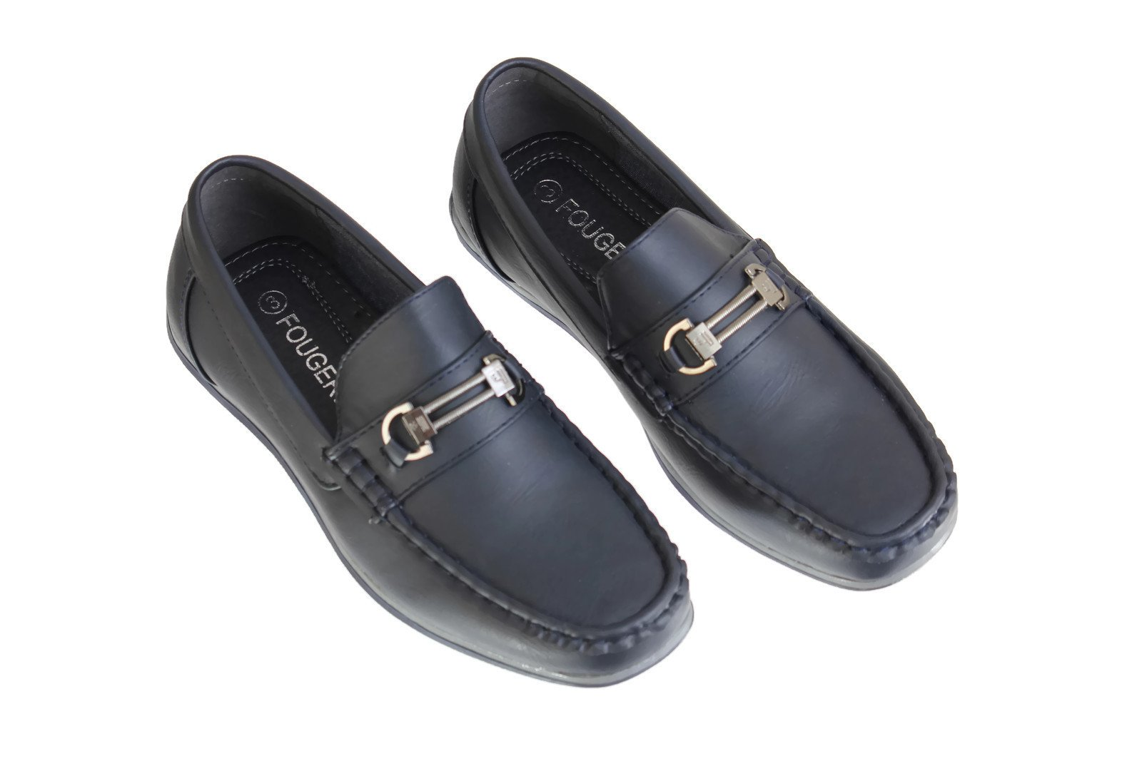 Boys Navy Loafer Dress Shoes With a Buckle Accent (4 M US Big Kid)
