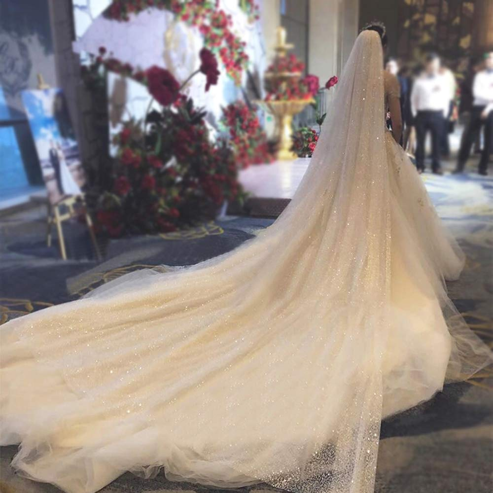 Faiokaver Cathedral Wedding Veils Sparkly 1 Tier Shinning Sequins Elegant Long Chapel with Comb by Faiokaver (Image #4)