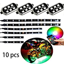 Million Color 6pc strip + 4pc pod led Motorcycle Cellphone app Bluetooth Controller Motorcycle LED Light Kits with Music Sync for motorcycle ,ATV,golf Car Harley Davidson Honda Kawasaki Suzuki