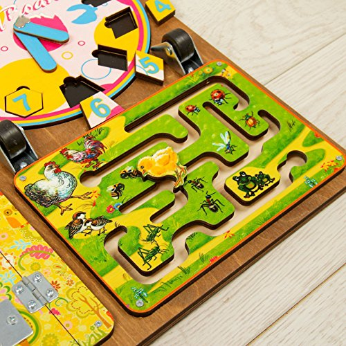 Wooden Activity Busy Board for Girls by Neskuchnye igry (Image #3)