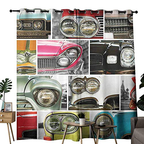- duommhome 1960s Decorations Collection Living Room Curtain Classic Cars Retro Automobile Collage Bumper and Headlights Classics Old Style Suitable for Living Room Bedroom W84 xL72 Pink Black Red