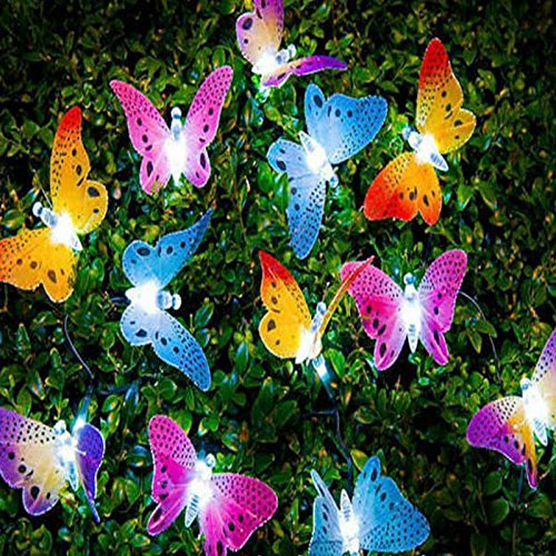 elegantstunning 5M 20LED Solar-Powered Optical Fiber Butterfly String Lights Garden Flower Pot Home Party Decoration