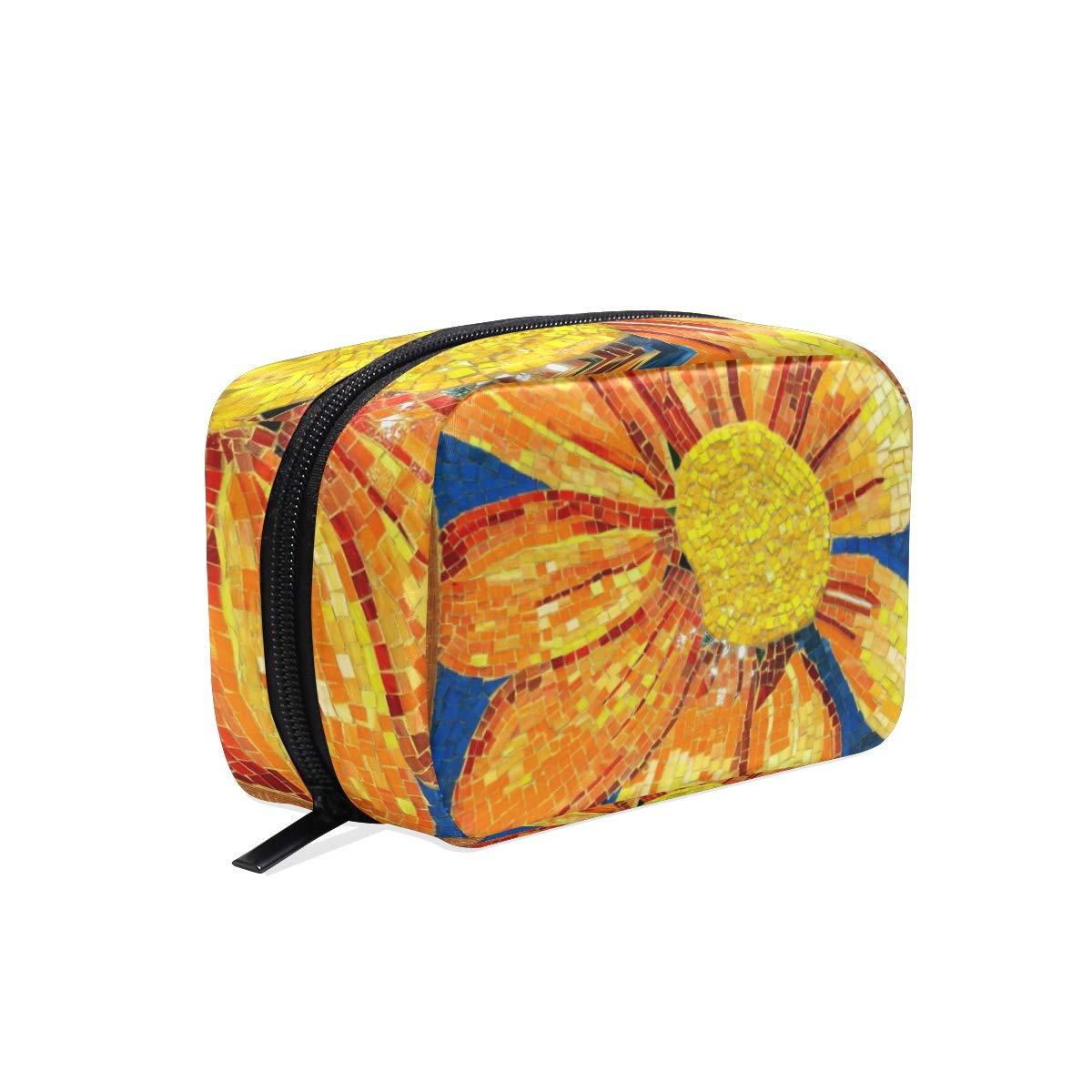 486e734c5f08 Amazon.com : Cosmetic Bag Sunflower Mosaic Pattern Customized Makeup ...