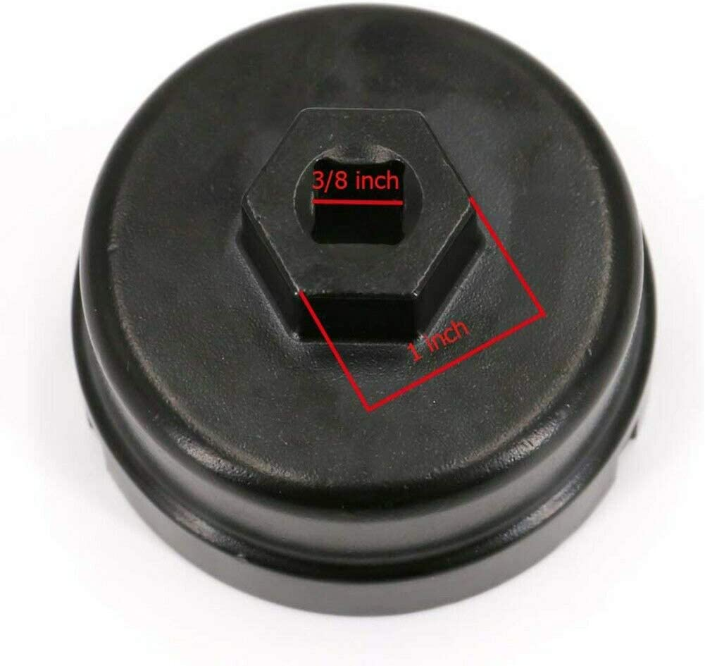Bingqi Oil Filter Wrench Socket Remover Tool Aluminum Cap Wrench Oil Filter Housing Cap 64.5mm 14 Flutes Black