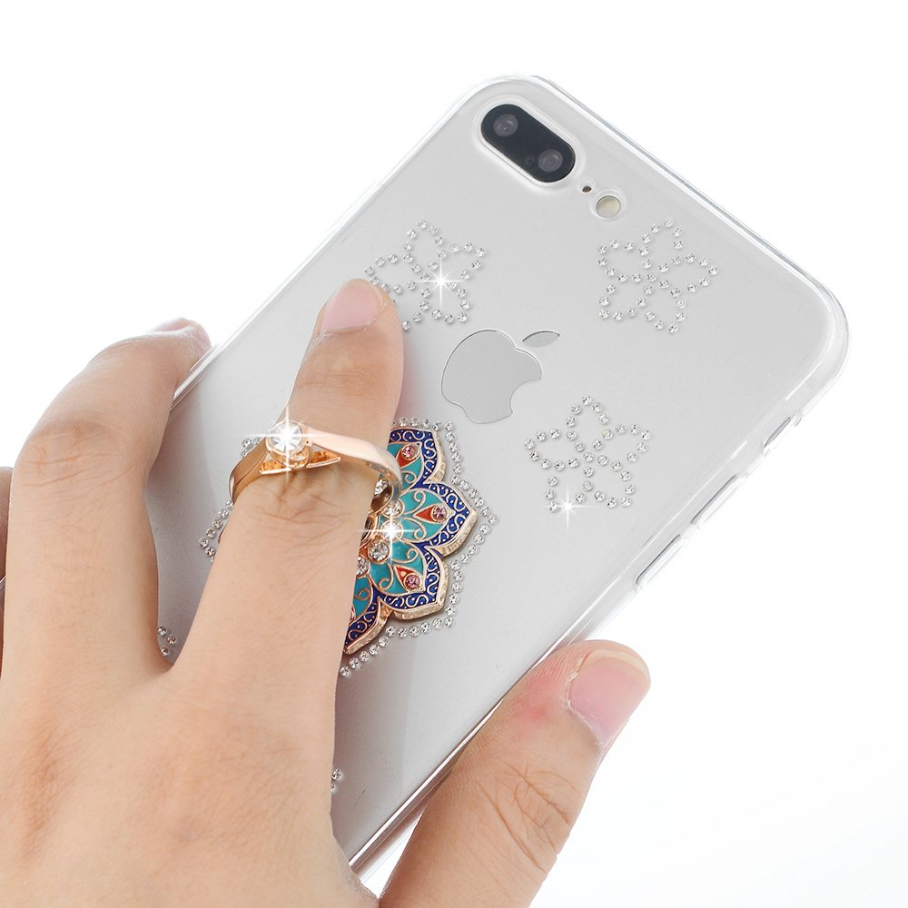iPhone 7 Plus, iPhone 8 Plus, YOKIRIN Clear Glitter Crystal Floral Series Hybrid Slim Luxury Bling Rhinestone Soft TPU Bumper Frame Hard PC Plastic Diamond Crystal Cover with Mandala Ring Stand by YOKIRIN (Image #3)