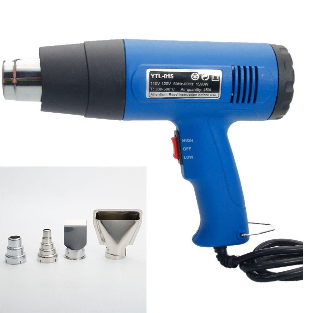 1500W Heat Gun Hot Air Wind Blower Dual Temperature + 4 Nozzles Power Heater :New