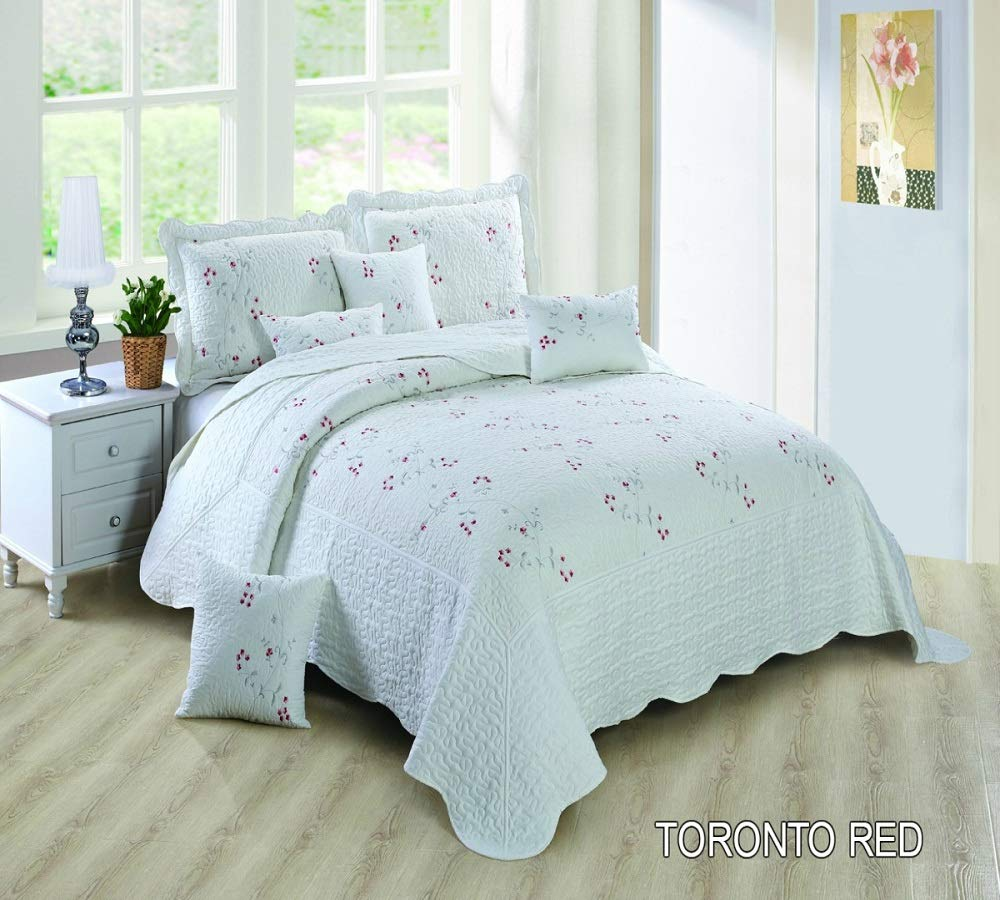 Pink, Double Best Cotton Blend 3 Piece Bedspread Quilted Embroidered Comforter Set Bed Throw Single Double King Super king Size