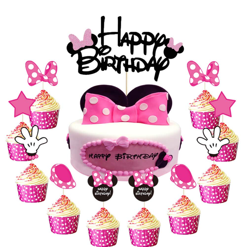 Set of 24 Minnie Mouse Inspired Cupcake Toppers Girls Pink Birthday Party Decorations Baby Kids