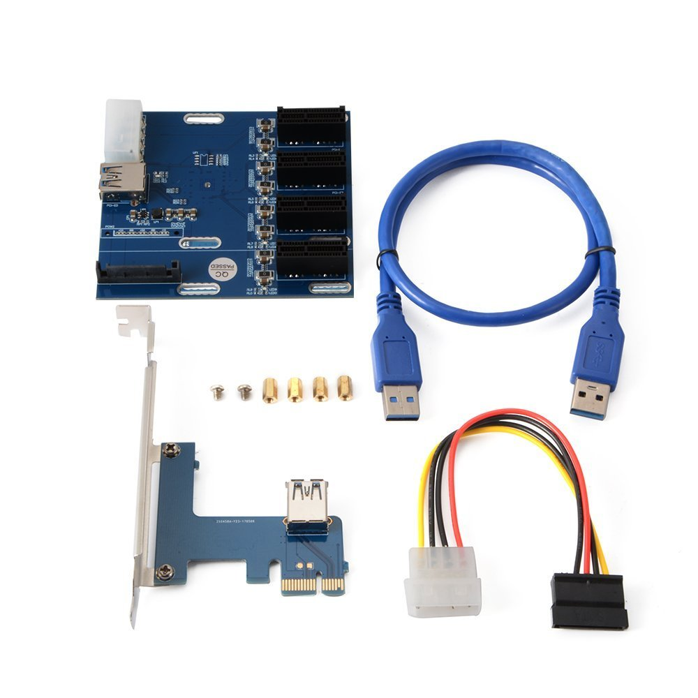 PCI-E 1 to 4 PCI Express 1x Slots Multiplier Card, Ethereum Mining Bitcoin Litecoin Miner Rig Cable GPU Riser Adapter, A ADWITS Brand by A ADWITS (Image #2)