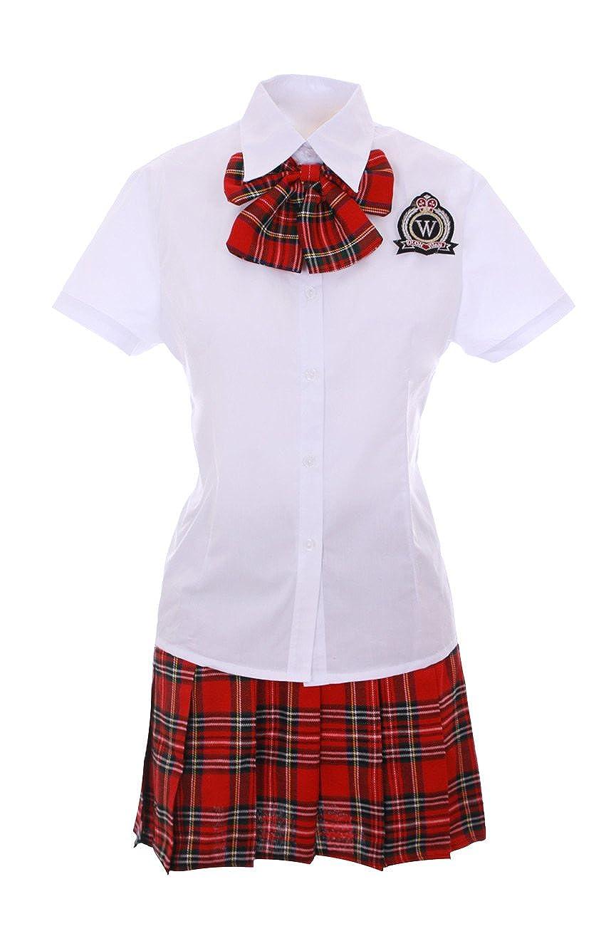 Traje adolescente japonesa Cosplay Rojo Escocés con nudo ...