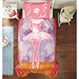 2 Piece Girls Light Pink Poised Ballerina Comforter Twin Full Mini Set, Light Blue Brown Star Performer Princess Pattern Tiara Design Sham Kids Bedding Colorful Cozy Ballet Dance Themed Teen Polyester