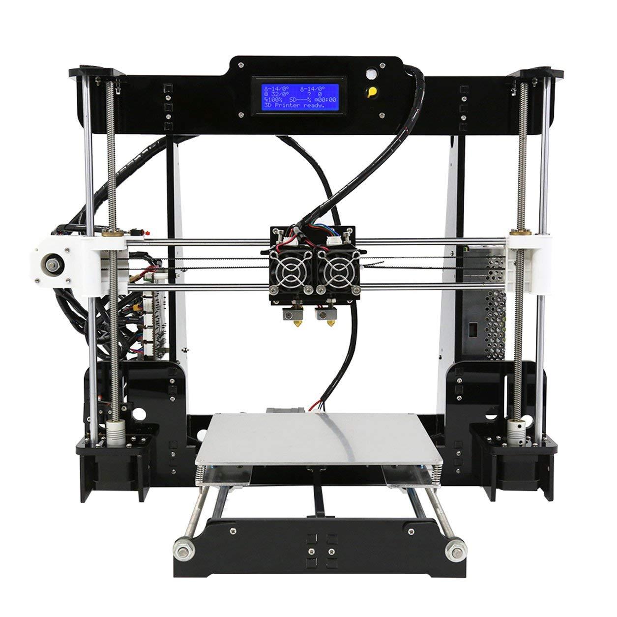 Dailyinshop 3D Drucker,3D Drucker Zubehör,3D Printer,A8-M 3D-Drucker Dual-Extruder Doppel Farben Drucken Prusa I3 Beheizte Bed Us