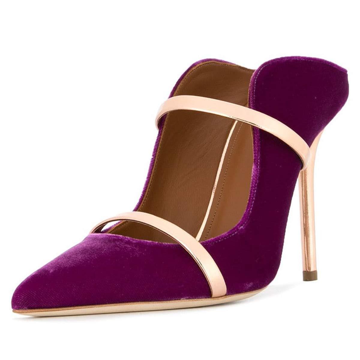 bddcb24057 FSJ Women Fashion Pointy Toe Pumps High Heels Mule Sandals Double Straps  Slide Shoes Size 7 Purple-12 cm