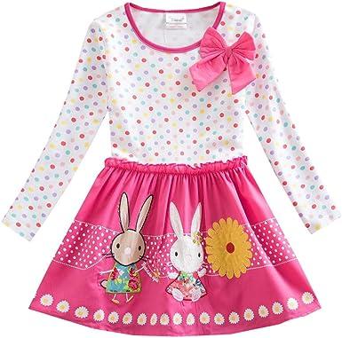 SXSHUN Vestido de Algodón Manga Larga Vestido Rosa con Conejos Primavera Niñas (3-8 Años): Amazon.es: Ropa y accesorios