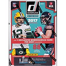 2017 Donruss NFL Football Unopened Blaster Box of Packs with with One Blaster EXCLUSIVE Rookie MEMORABILIA Card in Every Box plus 11 Rookie Cards