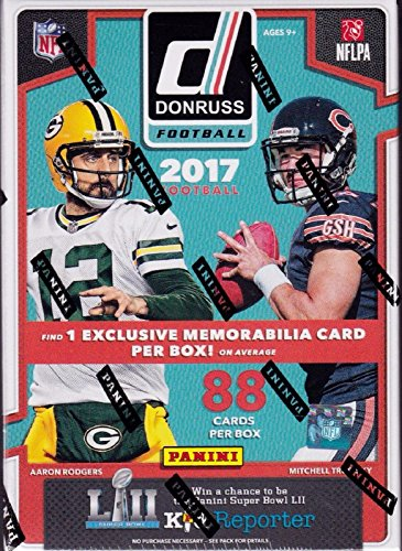2017 Donruss NFL Football Unopened Blaster Box of Packs with One EXCLUSIVE Memorabilia Card and 11 Rookie Cards in EACH Box Try for Kareem Hunt, Deshaun Watson, Patrick Mahomes Rookie Cards and others -