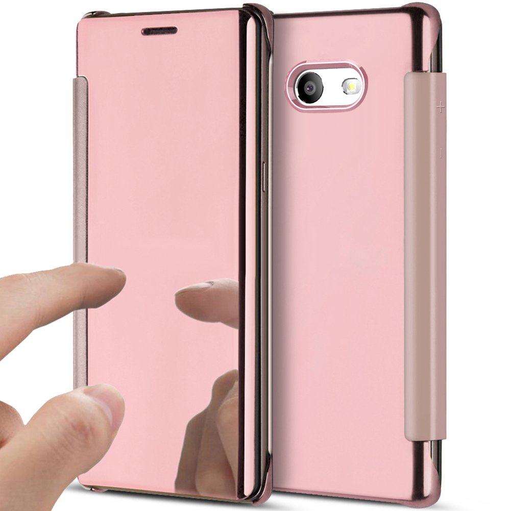 Galaxy J5 2017 Case,Galaxy J5 2017 Cover,ikasus Ultra-Slim Luxury Shock-Absorption Clear View Flip Electroplate Plating Mirror Cover Flip Protective Case Cover for Galaxy J5 (2017),Rose Gold