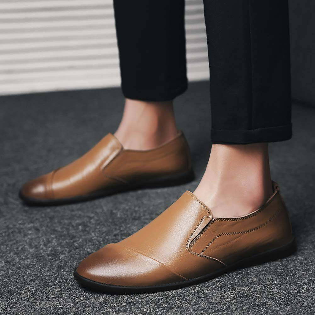 Mens Driving Shoes Premium Genuine Leather Fashion Slipper Business Casual Slip-on Loafers