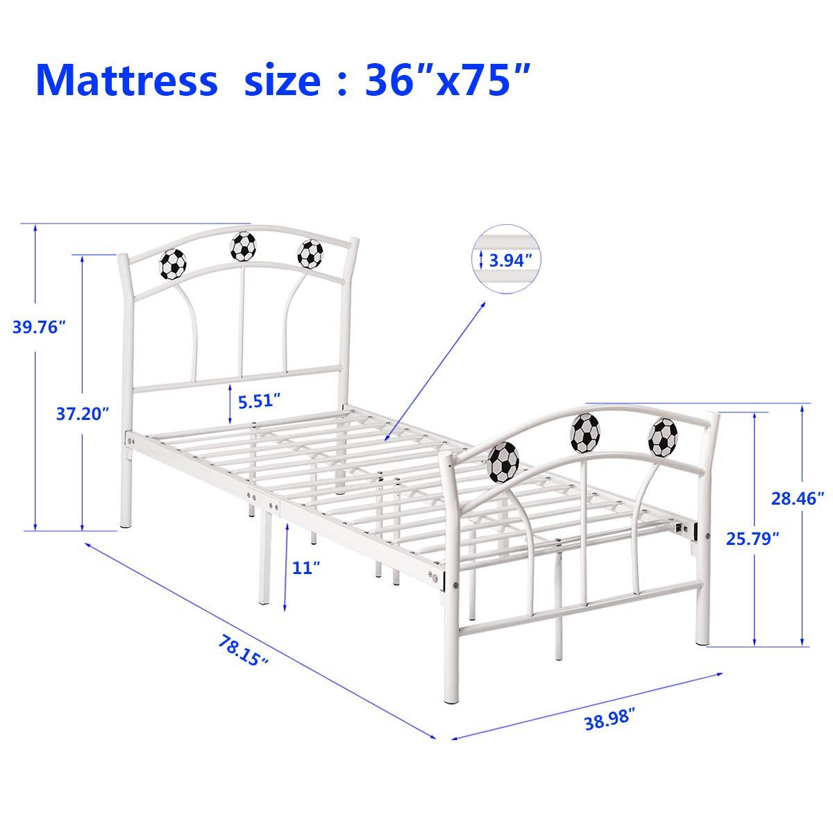 Metall Plattform Bett Rahmen mit Kopfteil und Fußteil, Matratze ...