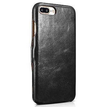 quality design fc49c adca9 ICARER iPhone 8 Plus Case ,iPhone 7 Plus Case ,Series Folio Flip Corrected  Leather Case[Vintage Classic Series] [Genuine Leather] for iPhone 8 Plus /  ...