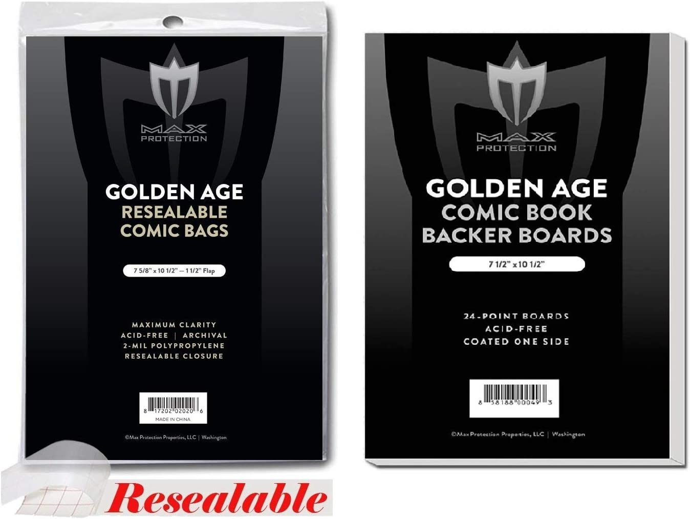 (100) Resealable Golden Alter Größe Ultra Clear Comic Buch Bags und Boards - durch Max Pro (Qty= 100 Bags und 100 Boards)