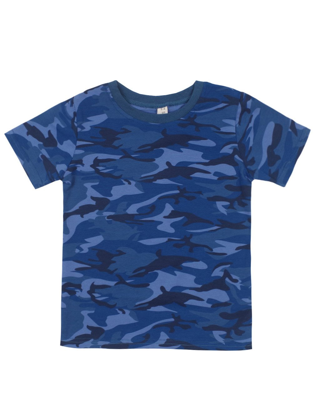 Spring&Gege Boys Summer Cotton Short Sleeve Camouflage T-Shirt Size 9-10 Years Camo/Navy Blue