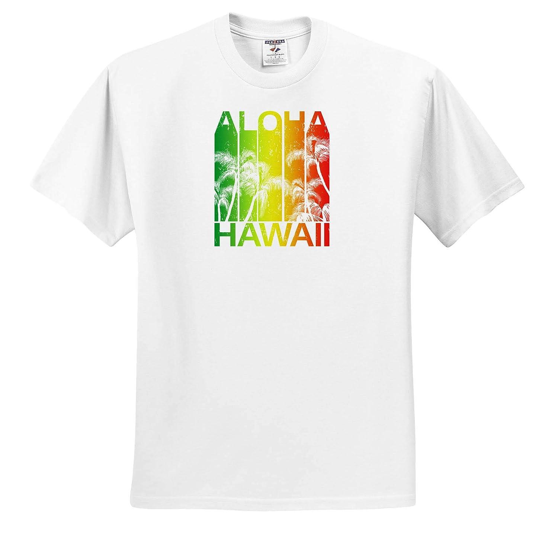 3dRose Macdonald Creative Studios Tropical Beach and Island Aloha Hawaii Design with Palm Trees Hawaii - T-Shirts