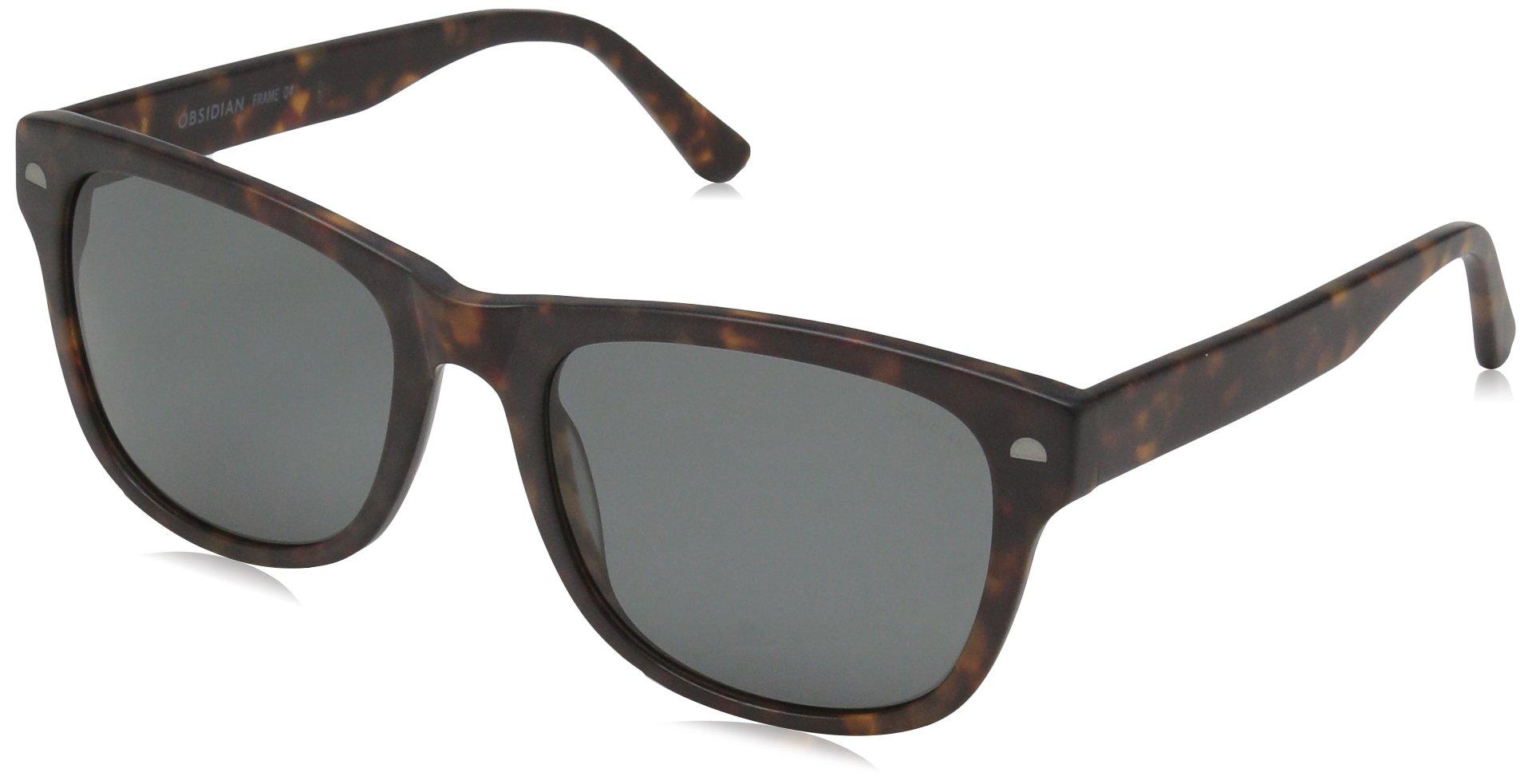 Obsidian Sunglasses for Women or Men Polarized Square Frame 04, Matte Tortoise, 54 mm