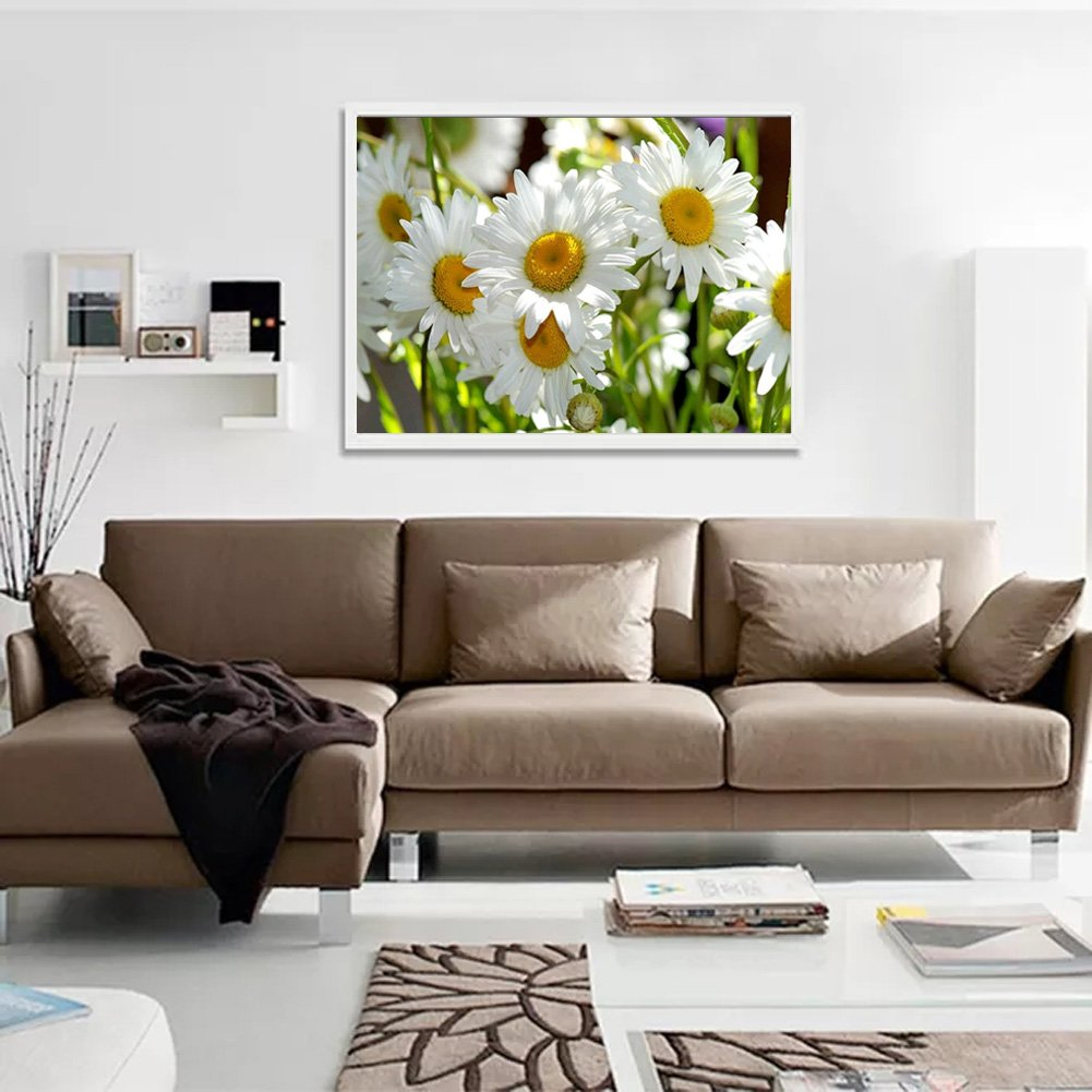 DIY 5D Diamond Painting by Number Kits Full Drill Rhinestone Embroidery Cross Stitch Pictures Arts Craft for Home Wall Decor,White Daisy-12x16In