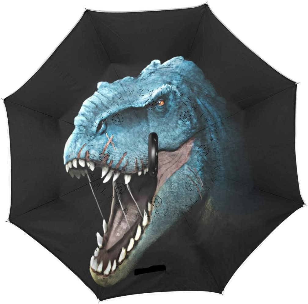 Inverted Umbrella with Cool T-Rex Awesome Dinosaurs Print Car Reverse Folding Umbrella Windproof UV Protection with C-Shaped Handle