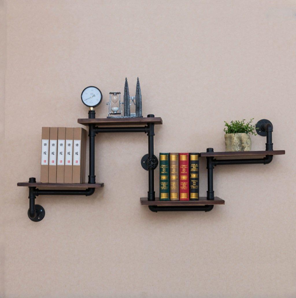 ウォールラック/工業用パイプシェルフ本棚小物のモダンウッドはしごパイプの壁棚4ティア鍛造鉄パイプ設計フラワースタンドシェルフキッチンラック 装飾フレーム B07TDC78GZ