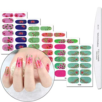WOKOTO 6 Sheets Full Wraps Nail Polish Stickers With 1Pcs Nail File Self-Adhesive Nails Decals Strips...