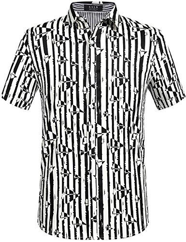 SSLR Men's Contrast Color Striped Button-Down Shirt (Large, Black White) (70s Men Clothes)