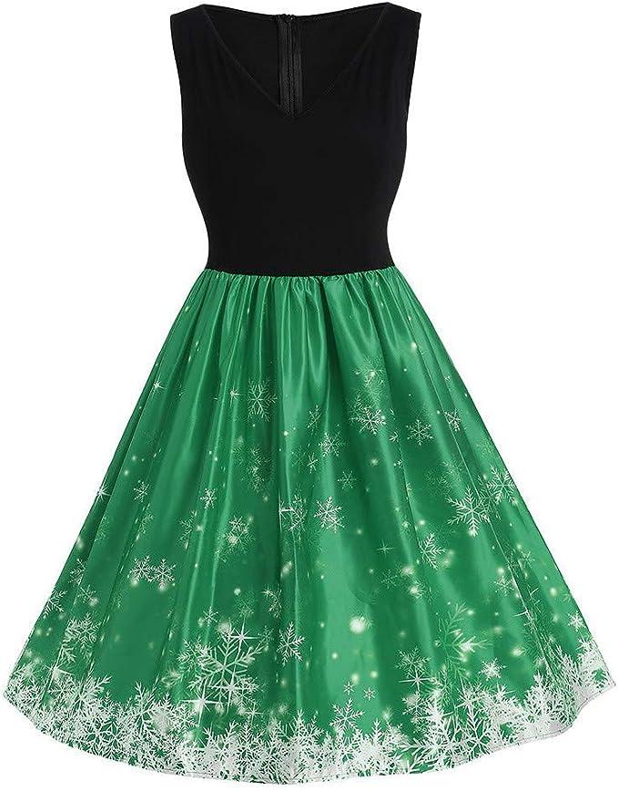 ASHOP Vestido de Navidad Mujer, Vestido para Mujer Navidad Copo de ...