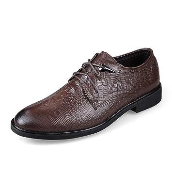 Apragaz De Los Hombres Oxfords de Impresión de La Textura del Cocodrilo de Moda Zapatos de Vestir con Cordones Clásicos (Color : Marron Oscuro, ...