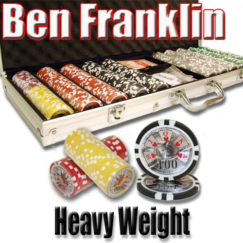 500 Ben Franklin Poker Chip Set. 14 Gram Heavy Weighted Poker Chips. by Brybelly